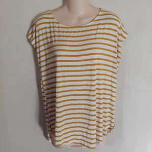 Green Envelope mustard yellow striped top size XL